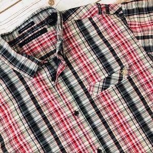 Sean Jean mens Red Plaid Short Sleeve Button Shirt